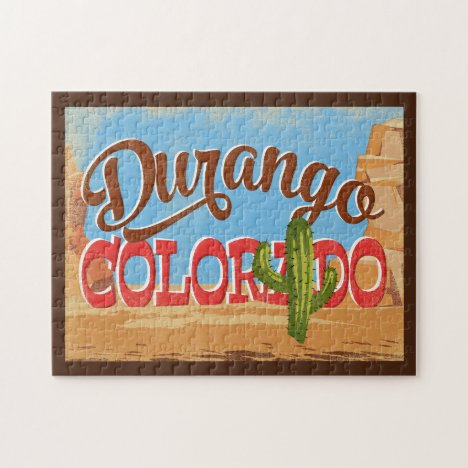 Durango Colorado Cartoon Desert Vintage Travel Jigsaw Puzzle
