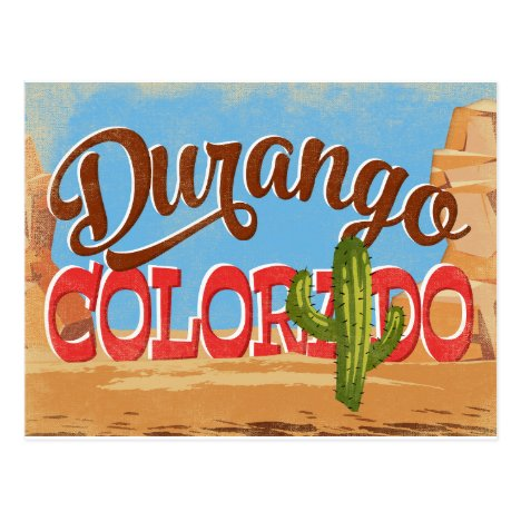 Durango Colorado Cartoon Desert Vintage Travel Postcard