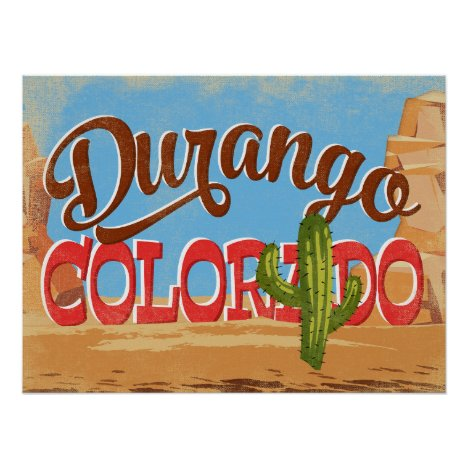 Durango Colorado Cartoon Desert Vintage Travel Poster