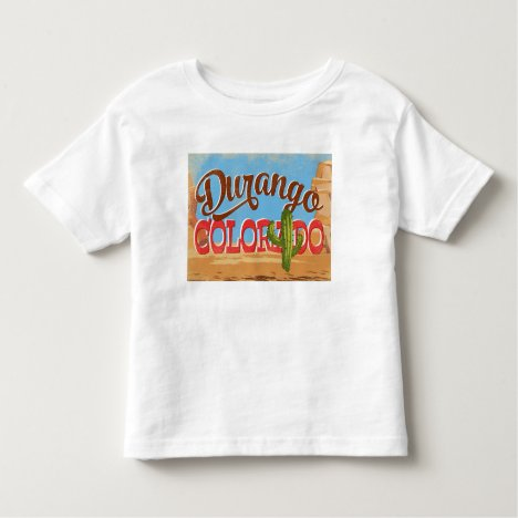 Durango Colorado Cartoon Desert Vintage Travel Toddler T-shirt