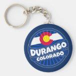Durango Colorado flag burst keychain