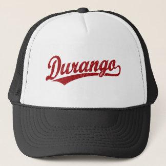 Durango script logo in red trucker hat