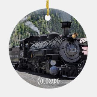 Durango y ornamento del tren de ferrocarril de adorno navideño redondo de cerámica