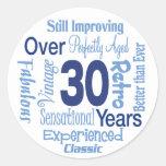 Durante 30 años de trigésimo cumpleaños etiquetas redondas
