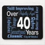 Durante 40 años de 40.o cumpleaños alfombrilla de ratón
