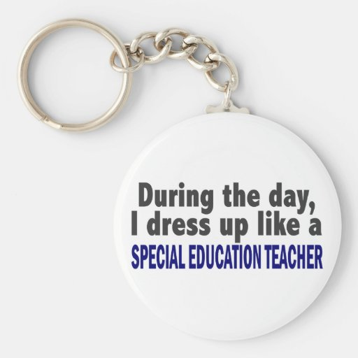 Durante el profesor de la educación especial del d llavero redondo tipo pin