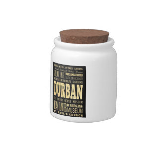 Durban City South Africa Typography Art Candy Jars