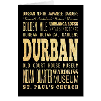 Durban City South Africa Typography Art Greeting Cards