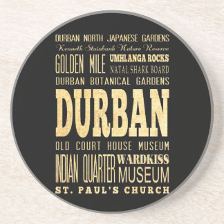 Durban City South Africa Typography Art Drink Coasters