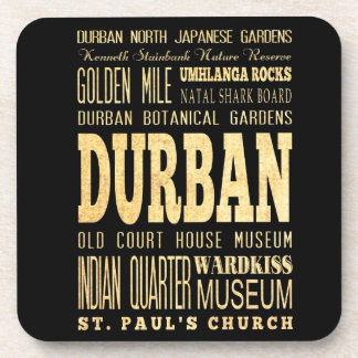 Durban City South Africa Typography Art Coasters