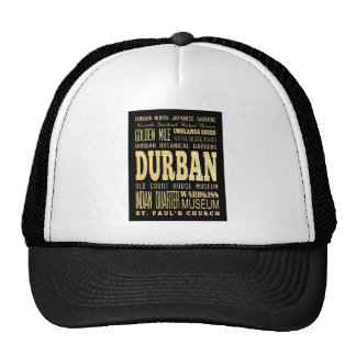 Durban City South Africa Typography Art Mesh Hats