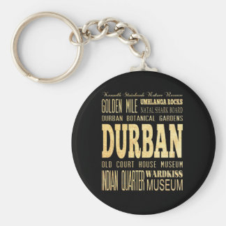 Durban City South Africa Typography Art Key Chain
