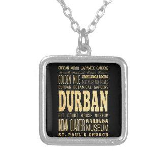 Durban City South Africa Typography Art Pendant