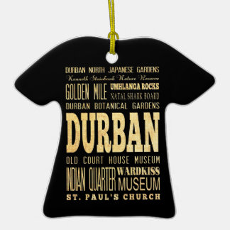 Durban City South Africa Typography Art Christmas Ornaments
