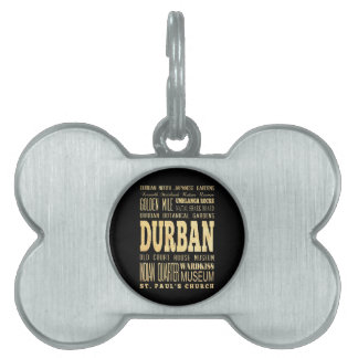 Durban City South Africa Typography Art Pet Name Tags