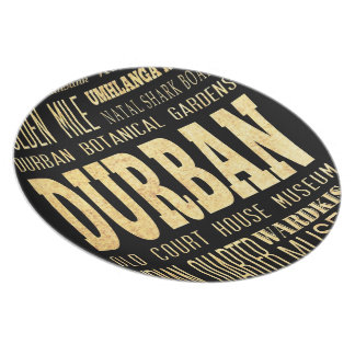Durban City South Africa Typography Art Plate