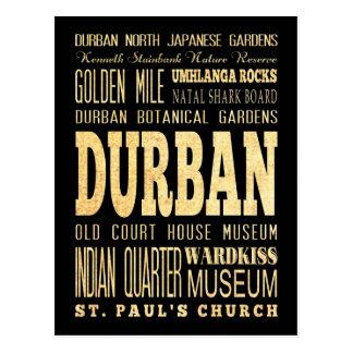Durban City South Africa Typography Art Postcard