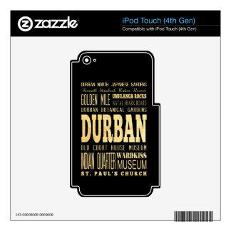Durban City South Africa Typography Art iPod Touch 4G Skins