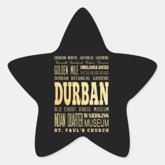 Durban City South Africa Typography Art Star Sticker