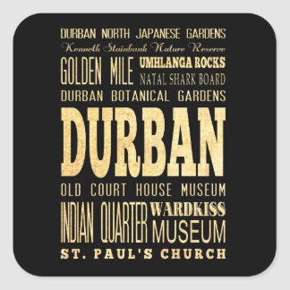 Durban City South Africa Typography Art Square Sticker
