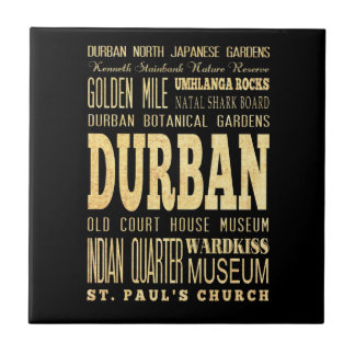 Durban City South Africa Typography Art Ceramic Tile