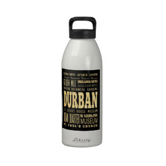 Durban City South Africa Typography Art Drinking Bottle