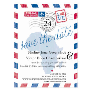Durban South Africa Airmail Wedding Save The Date Postcard
