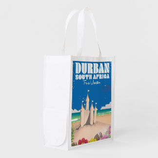 Durban South Africa vintage beach travel poster Grocery Bags
