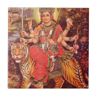 DURGA AND THE TIGER CERAMIC TILE