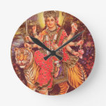 DURGA AND THE TIGER ROUND CLOCKS