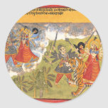 Durga lucha el Raja de Daitya Pegatina Redonda