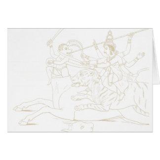 Durga slaying Mahishasura Card