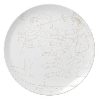 Durga slaying Mahishasura Dinner Plate