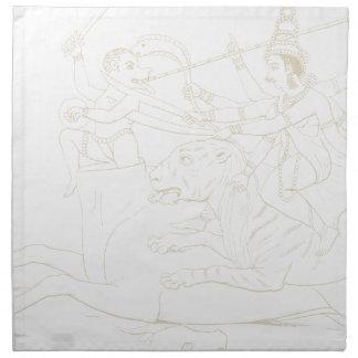 Durga slaying Mahishasura Napkin