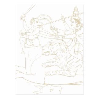 Durga slaying Mahishasura Postcard