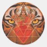 Durga & Tiger Round Stickers