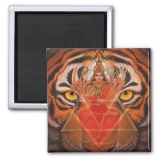 Durga y tigre imán cuadrado