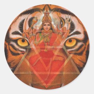 Durga y tigre pegatina redonda