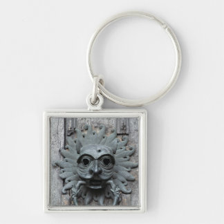 Durham Cathedral Sanctuary Knocker Silver-Colored Square Keychain