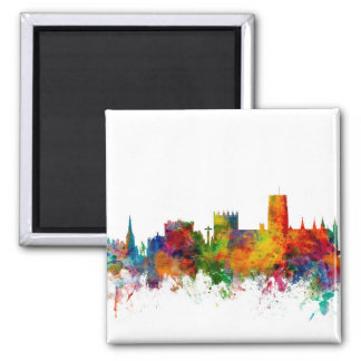 Durham England Skyline Cityscape 2 Inch Square Magnet
