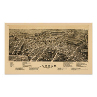 Durham, mapa panorámico del NC - 1891 Posters