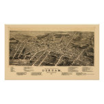 Durham, mapa panorámico del NC - 1891 Póster