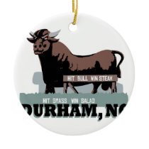 Durham NC Bull Ceramic Ornament