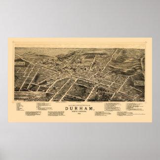 Durham, NC Panoramic Map - 1891 Poster