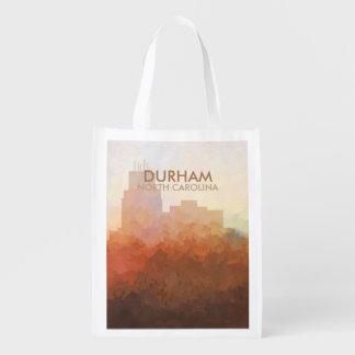 Durham, North Carolina Skyline IN CLOUDS Grocery Bag