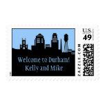 Durham North Carolina Skyline Postage Stamp