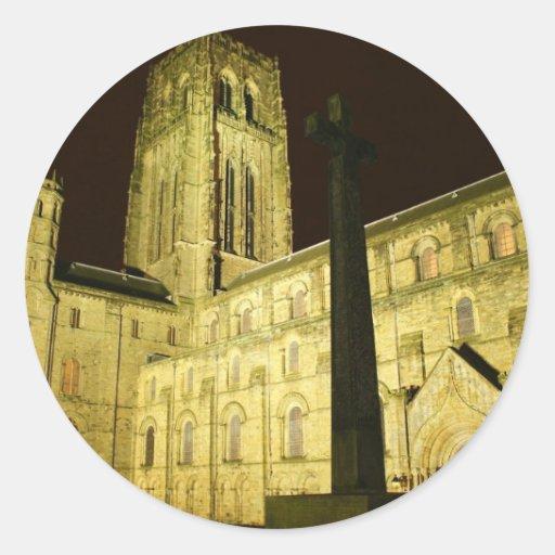 Durham por noche pegatina redonda