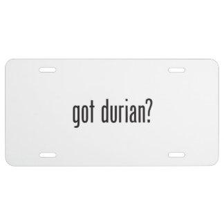 durian conseguido placa de matrícula