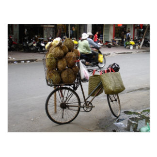Durian for sale on a bicycle postcard