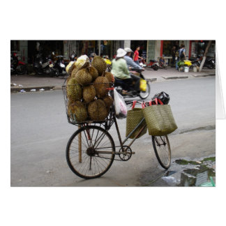 Durian for sale on a bicycle stationery note card